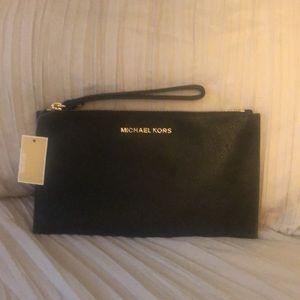 NWT Michael Kors black leather wristlet